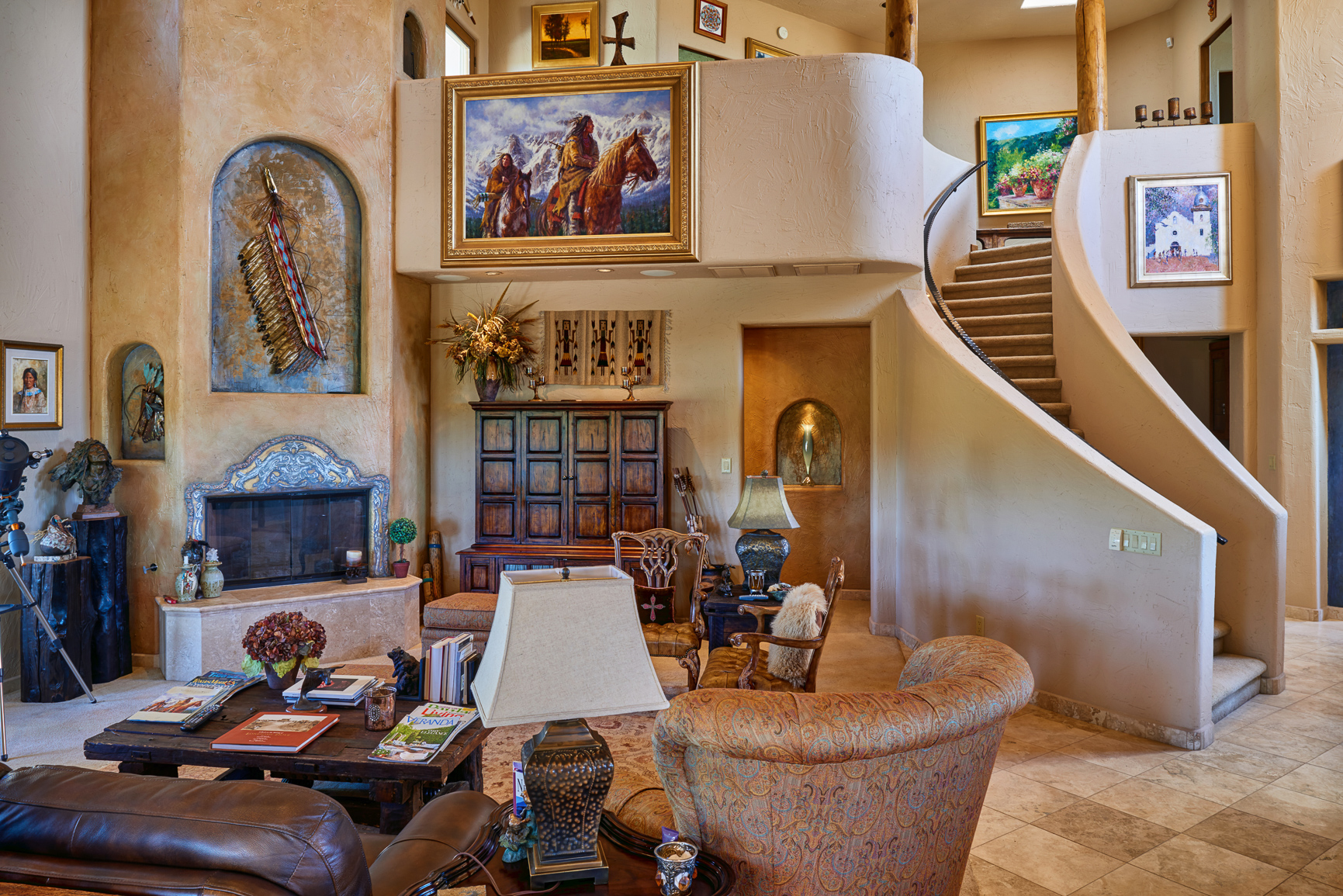 Bill Cornelius Construction Luxury Custom Homes Living Room with Stairs